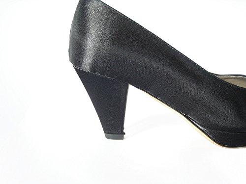 OSVALDO PERICOLI Scarpa Donna, Decolletè Elegante in Tessuto Raso con Tacco 7cm. e Plateau 1cm-DE10 Nero
