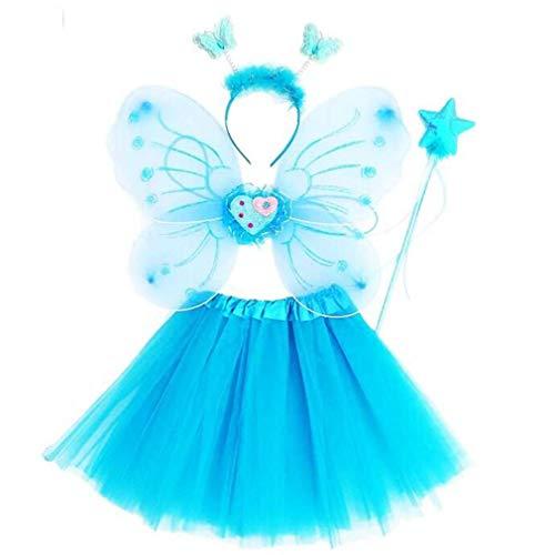 Gaga city 4 Stück Kostüm Mädchen Fee Flügel Tutu Set Schmetterlingsflügel Zauberstab Stirnband Prinzessin Kinder Party Kostüm Cospaly - Kind Kostüm Party City