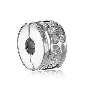 MATERIA Schmuck Silber 925 Bead Stopper Clip gepunktet – Silber Element für Beads Armbänder mit Gewinde #899