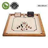 Ubergames Kompaktes Carrom Board Set 4 kg - Top ECO-Hartholz Qualität - Komplettes Set mit Offiziellen Scheiben und Pulver