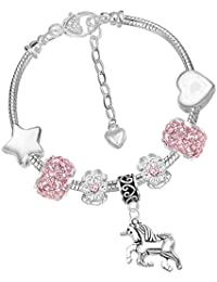 Girls Sparkly Pink Crystal Unicorn Charm Bracelet Set with Greeting Card and Gift Box