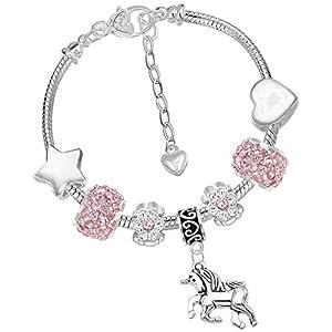 Mädchen-Charm-Armband mit Einhorn-Motiv, glitzernd, mit Grußkarte und Geschenkbox