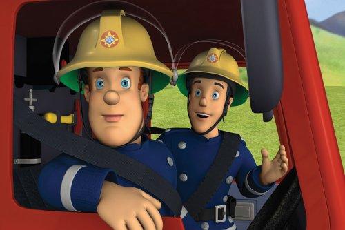 Leinwanddruck für Kinder Schlafzimmer Wand Kunst-Kinderzimmer Kunst-Cartoon Feuerwehrmann Sam (* * Amazing Qualität auf dickem Rahmen aus Kiefernholz * *)-61x 50,8cm Umwerfende Galerie gerahmt Leinwand Kunstdruck Bild Poster, fertig zum Aufhängen NEU -