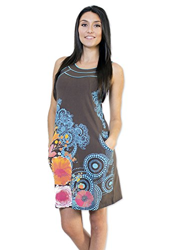 Coton Du Monde - Robe CAMELIA Gris Multicolore
