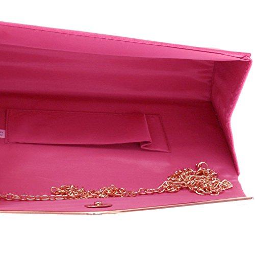 Xardi London - Pochette da donna, in finta pelle scamosciata, con chiusura a mo�?di busta, ideale per serate eleganti e balli studenteschi Pink