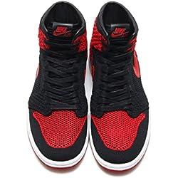 Nike Zapatillas Hombre Air Jordan 1 Retro High Flyknit GS EN Tejido Negro y Rojo 919704-001