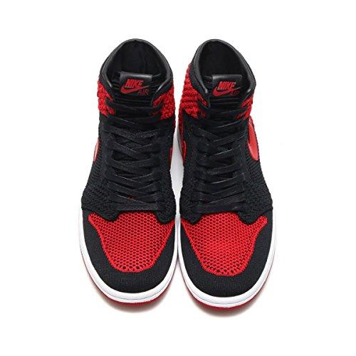 Nike Herren Schuhe Air Jordan 1 Retro Hoch Flyknit GS in Schwarz und Rot Stoff 919702-001 (Rot Jordan Retro Schuhe)