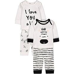 Mothercare Baby Unisex Zebra 2 Pack PJ Pyjama Sets, Multicolour (Black/White), 0-3 Months (Size: 62)