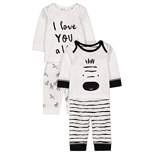 Mothercare Baby Zweiteiliger Schlafanzug Unisex Zebra 2 Pack PJ Multicolour (Black/White) 74