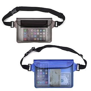 Rixow 2er-Set Waterproof bag pouch envelope Unterwassertasche Bauchtasche completely protect for iPhone, camera, iPad, documents against water (black + blue)