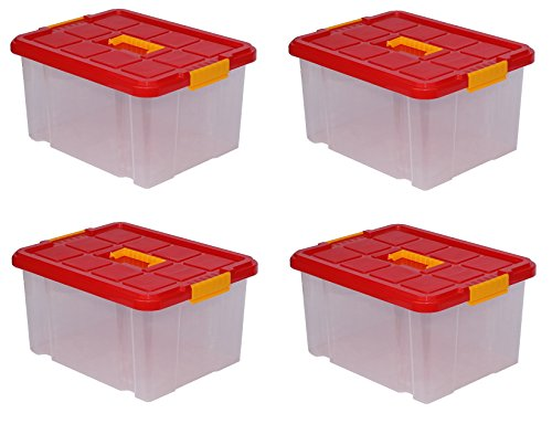 4 x Aufbewahrungsboxen aus Plastik 27L 44 x 35 x 24 cm, Drehstapelbox, Eurobox, stapelbar (4, mit Deckel)