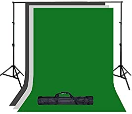 Numex Three color Lekra backdrop with Photo Light Stand (Black, Green, White)