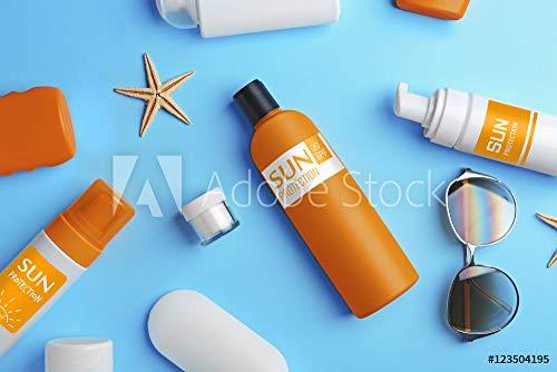 druck-shop24 Wunschmotiv: Sun Protection Creams on Blue Background, top View #123504195 - Bild hinter Acrylglas - 3:2-60 x 40 cm / 40 x 60 cm -