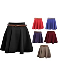 Ladies Belted Skater Skirt Red M/L