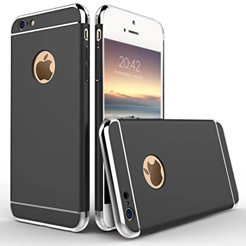 UrCool 3 in 1 Ultra Thin and Slim Coated Premium Non Slip Matte Surface Electroplate Frame Plating Metal Texture Skin Hard Case Protector Cover With Ring Holder Stand for iPhone 7 Gold 3in1 iPhone 7 Black
