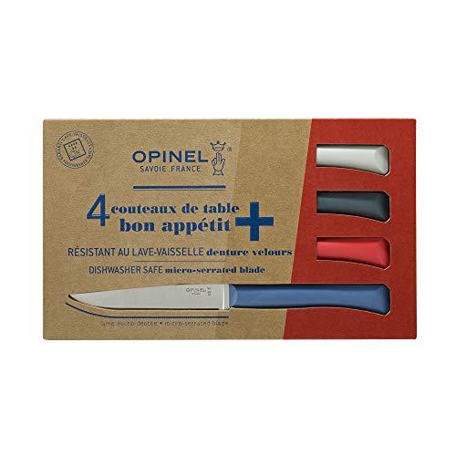 Opinel - Coffret Table Bon Appétit + Primo - 4 Couteaux de Table - Couteaux à Steak de Table - Lame INOX Microdentée 11 cm & Manche Polymère - Bleu, Blanc, Rouge & Anthrac
