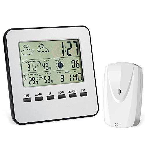 CWC Termómetro higrómetro Digital con transmisor inalámbrico, la Temperatura...