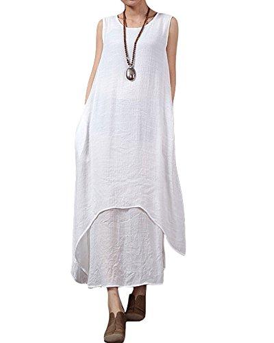 ro Damen Lose Kleid Sleeveless O Ansatz Taschen Boho Langes Maxi Kleider S-5XL ()