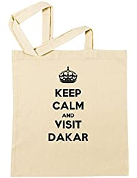 Keep Calm And Visit Dakar Bolsa De Compras Playa De Algodón Reutilizable Shopping Bag Beach Reusable
