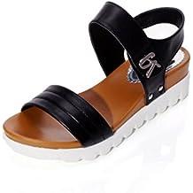 Transer® Sandalias de verano de mujeres envejecidas sandalias de moda plana cómodos zapatos de damas