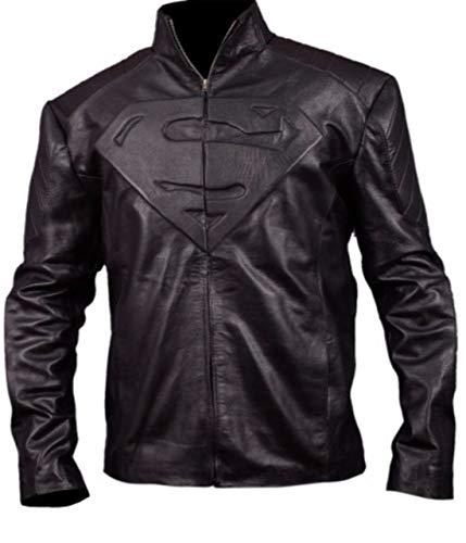 Feather Skin Jacke Herren Superman Smallville schwarz Leder Jacke-L