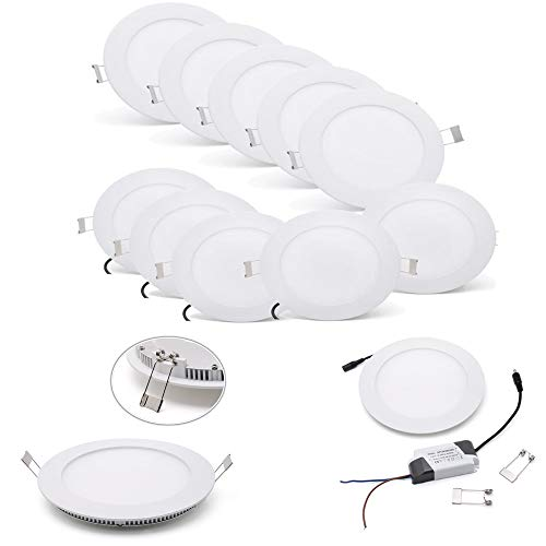 9w Led Spot Lampe ([10 Stück]Ultraslim Runde LED Panel Einbaustrahler Lampe Deckenleuchte Spot (9W Warmweiß))