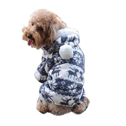 Cucciolo Costumi, Ularma Cane Vestiti Caldi Cucciolo Cappotto Tuta Con Cappuccio Abbigliamento Pecorina (Grigio XXL)