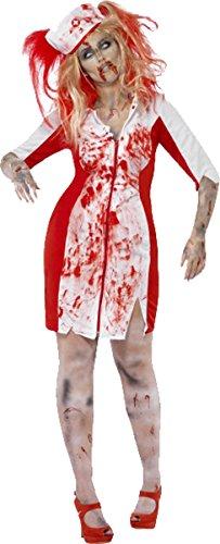 Komplette Kostüm Zombie - Damen Scary Halloween Fancy Party Komplettes Outfit Kurven Zombie Krankenschwester Kostüm, Weiß