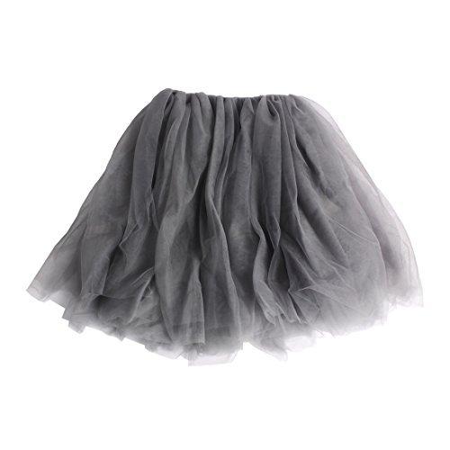 Andux Zone Kinder Mädchen Tüllröcke Tutu Rock Petticoat Ballettrock Party Tanzkleid SS-BSQ01 (140cm, Grau)
