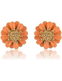 Moonlit Orange & Gold Alloy Stud Earrings For Women (moonlit124)