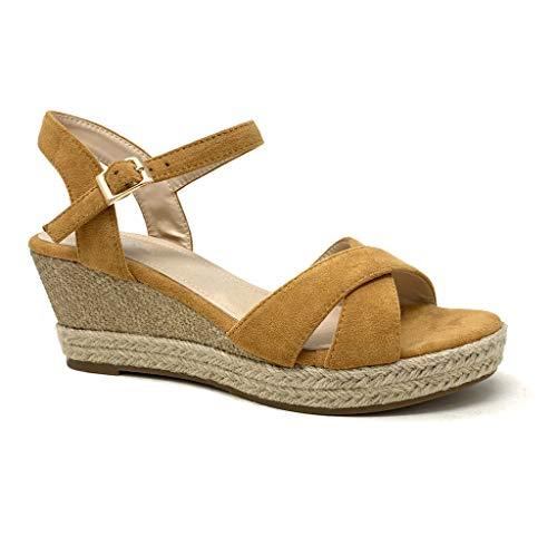Angkorly - Damen Schuhe Sandalen Mule - Folk/Ethnisch - romantisch - Ehe Zeremonie - gekreuzte Riemen - Geflochten - mit Stroh Keilabsatz 7 cm - Camel D-99 T 41 Mule Sandale