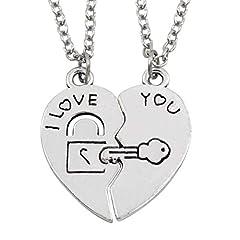 Idea Regalo - BESTOYARD 1 Paio di collane Coppia per Lui e lei Ti Amo Lettere a Forma di Cuore Ciondolo a Forma di Chiave per Il Giorno di San Valentino Anniversario Regali (Argento)