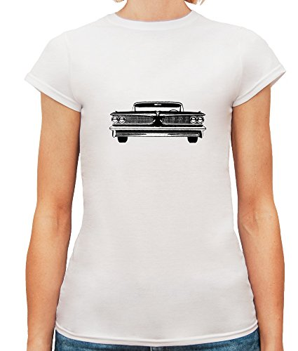 Mesdames T-Shirt avec Black Vintage Retro Lincoln Car Illustration imprimé. Blanc