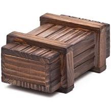 Caja regalo mágica de madera oscura - El original – Juego de ingenio – Caja regalo - 10,5 cm x 6,5 cm x 4 cm