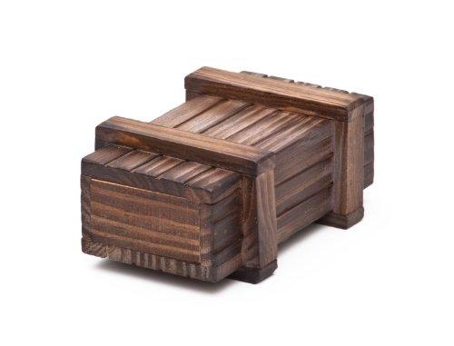 Casa Vivente - Magische Geschenkbox aus dunklem Holz -Trickkiste für Geldgeschenke - Knobelspiel – Verpackung für Geschenke – Hochzeitsgeschenk – Zauberkasten – 10,5 cm x 6,5 cm x 4 cm