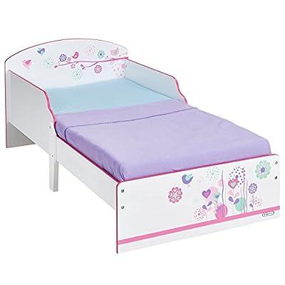 HelloHome - Cama infantil con estampado de mariposas y flores, color rosa
