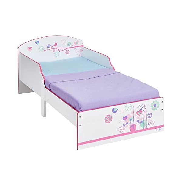 Flowers and Birds Kids Toddler Bed by HelloHome  Ideal transition from cot to bed - make the move to her first big bed magical with the Flowers and Birds toddler bed from HelloHome Takes cot bed size mattress - 140cm (l) x 70cm (w). Mattress not included. Assembled size (h)59, (w)77, (l)142cm Suitable for 18 months to 5 years this pink kids' bed is perfect for your little toddler! 1
