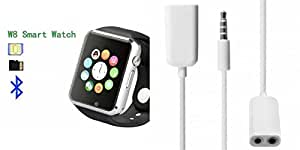 MIRZA Bluetooth A1 Smart Wrist Watch & Audio Splitter for SONY xperia t2 ultra (Audio Splitter & A1 Smart Watch Watch Phone with Camera & SIM Card Support Hot Fashion New Arrival Best Selling Premium Quality Lowest Price with Apps like Facebook,Whatsapp, Twitter, Sports, Health, Pedometer, Sedentary Remind,Compatible with Android iOS Mobile Tablet-Silver Color)