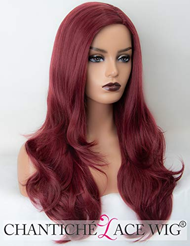 Chantiche Wine Red Synthetic Wig with Side Part Long Wavy Wig #99J Heat Resistant Burgundy Wigs for Women 20 Inches Burgundy Heat