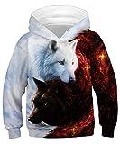 ALISISTER 3D Galaxy Wolf Stampare Felpa con Cappuccio per Ragazzi Ragazze Divertente Pullover Sweatshirt Hoodies Casuale Sport Party Hooded Jumper M