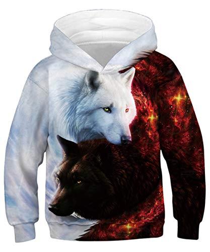 ALISISTER Unisex Sweatshirt Hoodies Teenager Jungen Mädchen 3D Grafik Kapuzenpullover Beiläufig Langarm Herbst Winter Outwear Tops mit Taschen XL