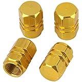 4x Tapas Tapones Válvulas Cubierta de Neumático Aluminio para LLanta de Camión Coche Color Oro