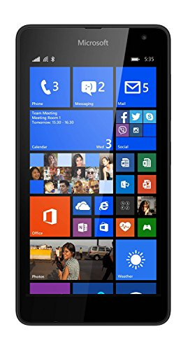 Microsoft Lumia 535 5 inch UK Sim-Free Smartphone - Black (Qualcomm Snapdragon 200 1.2Ghz, 1Gb Ram, 8Gb Storage, Wi-Fi, Bt, Camera, Windows 8.1)