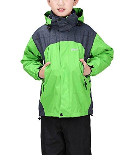 Qitun Kinderjacke Wasserdichte Regenjacke mit Kapuze Jungen Mädchen Jugend warm atmungsaktiv Sport Walking Camping jacken Fruchtgrün XL