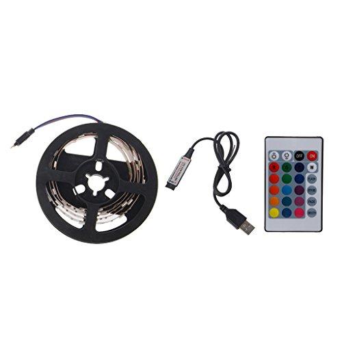 XXguang Flexible LED Strip Light,DC 5V USB 30 LED/m 5050 RGB TV Back Lighting+24 Key Remote (Back-up-batterie Tv)