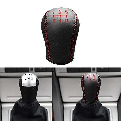 Auto rutschfest Schaltknauf Abdeckung Manuelle Naht rutschfest weiches Leder Auto-Innendekoration Schwarz mit rotem Faden -