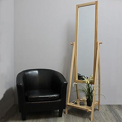 Ganzkörperspiegel mit Ablage 52x48x174cm Holz Ankleidespiegel Garderobenspiegel Kippspiegel