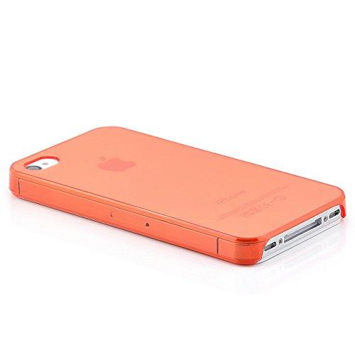 Saxonia Apple iPhone 4 / 4S Hülle Case Slim TPU Schutzhülle Back Cover Ultra Slim Transparent Rot