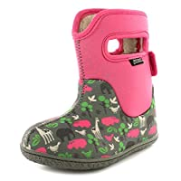 BOGS New Infants Wellington Boots with Pull On Handle and Touch Fasten - Pink/Multi - UK Sizes 3-9