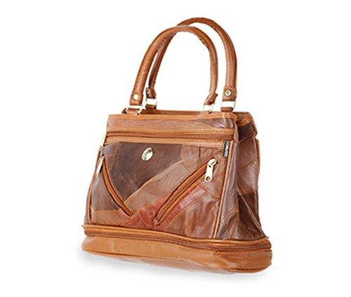 Friendz Trendz-Due Anteriore tasche con zip in pelle patchwork con finiture PU borse della bors (brown) tan